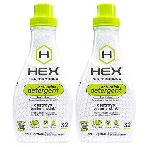 HEX Performance Anti-Stink Laundry Detergent, Free + Clear, 32 Load (Pack of 2)
