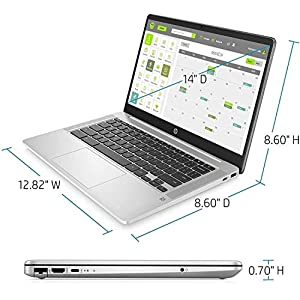 """2021 HP Chromebook 14"""" FHD WLED Thin and Light Laptop, Intel Celeron N4000, 4GB DDR4 RAM, 64GB eMMC, Webcam, 802.11ax, Bluetooth 5, Chrome OS, Mouse, Sleeve, w/ IFT Accessories"""