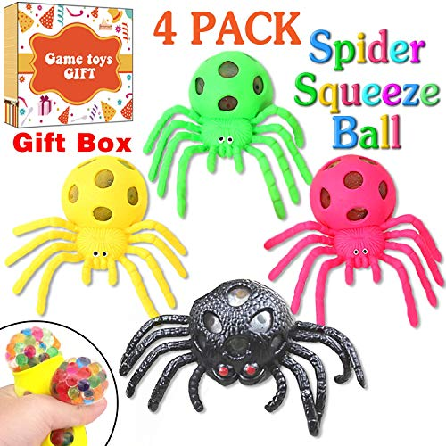 4 Pack Halloween Spider Toys, Realistic Fake Spiders Stretch Squeeze Relief Toys for Kids Adults,Mesh Grape Stress Ball,Halloween Bloody Decorations Party Favors Gag Gift Practical Joke Tricks Props -