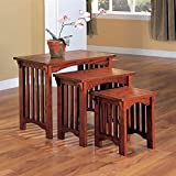 Coaster 901049 3-Piece Mission Style Occasional Nesting Side Table Set, Oak