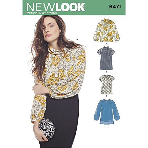 NEW LOOK UN6471A 6471 Pattern 6471 Misses' Blouses & Tunic with Neckline Variations