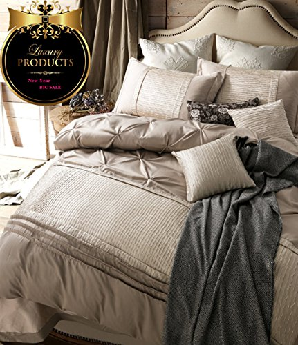 Solid Beige Duvet Cover Set Queen Luxury Bedding Set Full Vintage European Duvet Cover Set Exqui ...