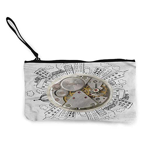 Canvas purse Clock,Alarm Clock with Clouds,Wallet with coin pouch W 8.5