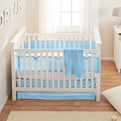 BreathableBaby Safety Crib Bedding Set, Blue Mist, 3 Piece