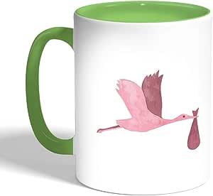 كوب سيراميك للقهوة، لون اخضر،  بتصميم اوزة