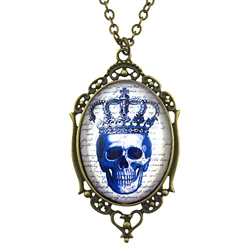 Pirate Skull Cameo Necklace (Royal Skull - Filigree Cameo Necklace - Bronze and Royal Blue - Glass Tile)