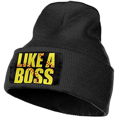 Softball Like A Boss Men&Women Warm Winter Knit Plain Beanie Hat Skull Cap Acrylic Knit Cuff Hat