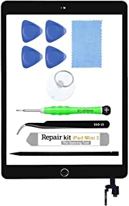 for iPad Mini 3 A1599 A1600 Screen Replacement Glass Touch Digitizer Repair Kit with Home Button & Tools (Black)