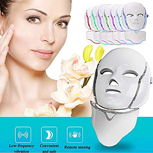 AORAEM LED Photon Therapy Mask with 7 Color Light Treatment Facial Beauty Skin Care Phototherapy Mask with Neck for Home AORAEM92