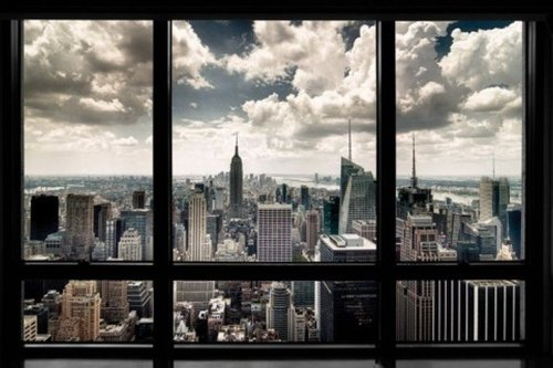 New York City Window Art Print Poster