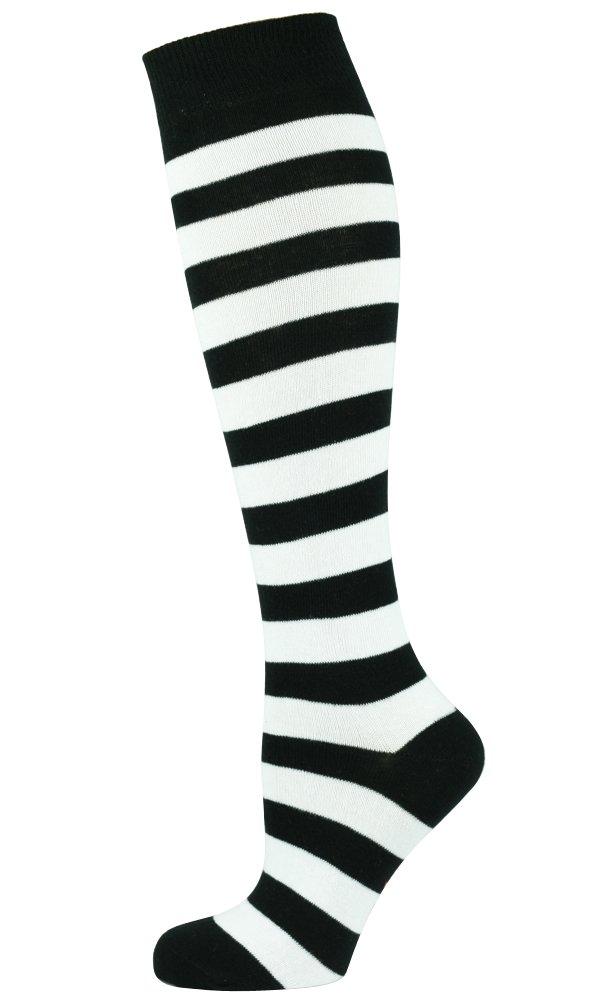 Mysocks Knee High Socks Two Colors Stripe White & Black UK 7-11 EURO 40-45
