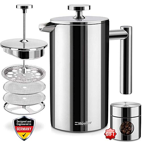 (Mueller French Press Double-Wall Stainless Steel Mirror Finish (34oz) 20% Heavier Duty Coffee/Tea Maker: Multi-Screen System 100%, 18/10 Stainless Steel, Rust-Free, Dishwasher Safe)