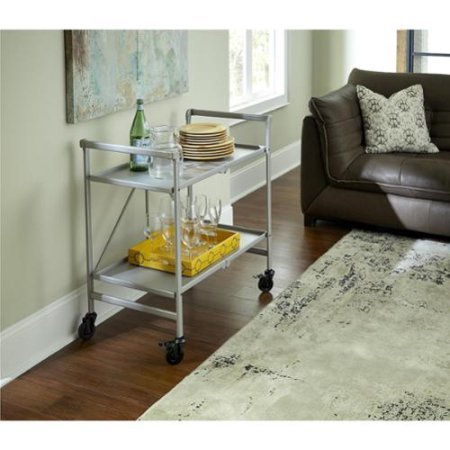 Cosco Home Outdoor And Indoor Folding Serving Cart Rolling Bar Island Kitchen Steel Utility Folding Storage Silver