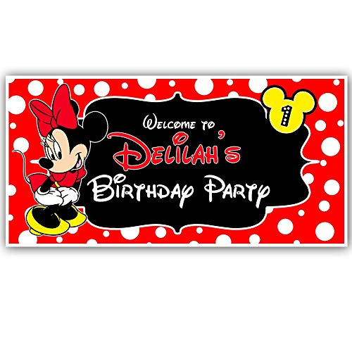 Minnie Mouse Red Birthday Banner Personalized Party Decoration -