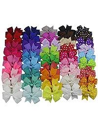 Grosgrain Ribbon Hair Bows Alligator Hair Clips for Baby Girl Toddlers Kids (30 solid color + 15 polka dot hair bows)