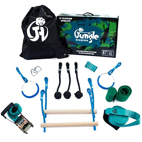 Jungle Highline Kids Obstacle Course | Extreme Ninja Obstacle Course | 7 Obstacles Including Monkey Bars, Swinging Rings, and Monkey Knots Kit | Designed in The - Obstacle Course