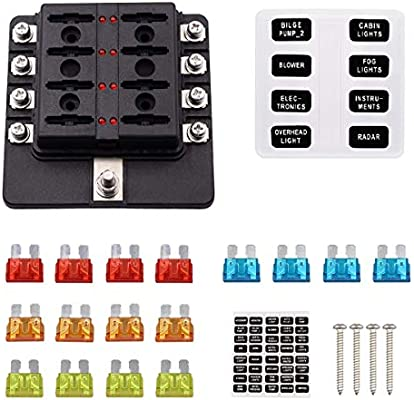 faylapa 8 way fuse box holder block circuit car boat automotive blade fuse  holder with cover & fuse & stickers - - amazon com