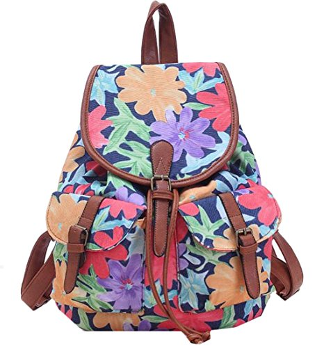 MLG Women & Girls Canvas Backpack Casual Book Bag Knapsack Red OS by MLG