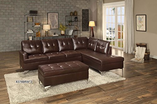 Homelegance 2 Piece Tufted Accent Sectional Sofa With Chaise Bi-Cast Vinyl, Brown