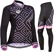ZEROBIKE® Women Cycling Jersey Breathable Long Sleeve Jacket Full Zipper Bike Shirt with Pockets Gel 3D Padded