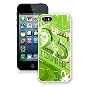 Personalized Hard Shell Iphone 5S Protective Case Merry Christmas iPhone 5 5S TPU Case 56 White