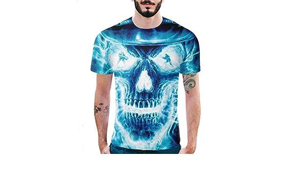 Camisa de Manga Corta de la Camiseta de la Manga de la Camiseta de la impresión del cráneo 3D para Hombre: Amazon.es: Ropa y accesorios