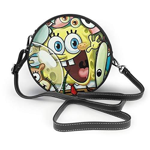 Women's Leatherwear Sponge Bob And Patrick Print Round Crossbody Shoulder Bag Top Handle Tote Handbag Bag - 7.1 X 7.1 X 2.36 Inch