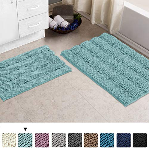 Turquoize Chenille Bathroom Rugs Bath Bath Mats for Bathroom Set 2 Piece Shaggy Rugs for Bedroom Chenille Bath Rugs Non Slip Super Absorbent Washable Bath Mat Set, 20