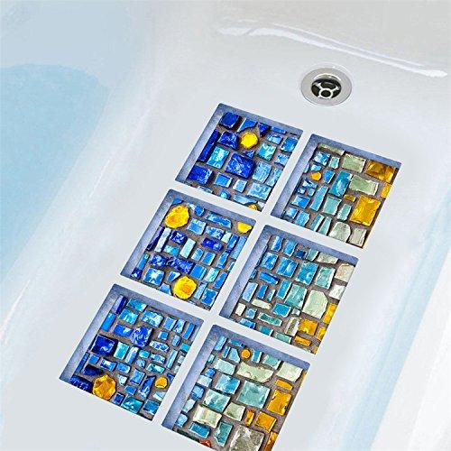 AMAZING WALL AmazingWall Blue Mosaic 3D DIY Anti Slip Safety Shower Bath Tub Decal Stickers Bathtub Appliques 5.9x5.9 6pcs/Set