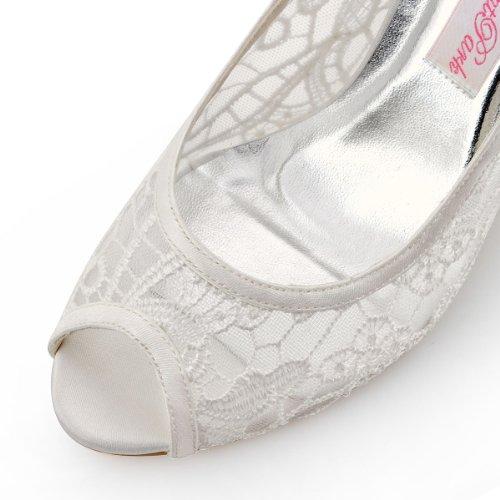 ElegantPark HP1400 Punta abierta Zapatos de tacón Lace zapatos de novia mujer marfil