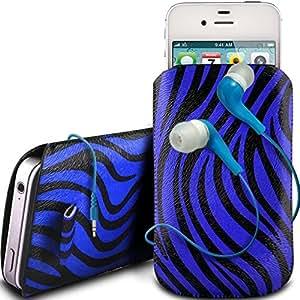 Online-Gadgets UK - Samsung Galaxy S2 i9100 protector cuero de la PU de la cebra Diseño deslizamiento lengüeta de tracción del cable en caso de la bolsa con cierre rápido y 3.5mm Auriculares ergonómicos - Azul
