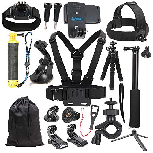 SUREWO Basic Outdoor Accessories Kit Compatible Gopro Hero 7/(2018) 6/5/4 Black Hero 5/4 Session 4 Silver 3+ DJI Osmo Action AKASO/Campark and More