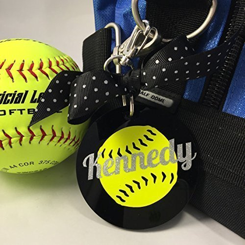 Softball Neon Yellow Bag Tag Personalized with Your Name and Your Colors