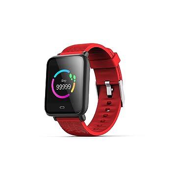 Reloj inteligente pantalla coloré Monitor de ritmo cardiaco Tensiómetro Bluetooth IP67 Fitness Tracker pulsera, color rojo: Amazon.es: Hogar