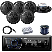 PYLE PLRMR27BTB Marine Bluetooth Receiver Stereo(Black) w/Pyle 100W 5.25 2-Way Marine Speakers(3-Pairs), Enrock Marine Antenna, Pyle 4-Channel 400W WP Marine Amplifier & 50 16G Speaker Wire