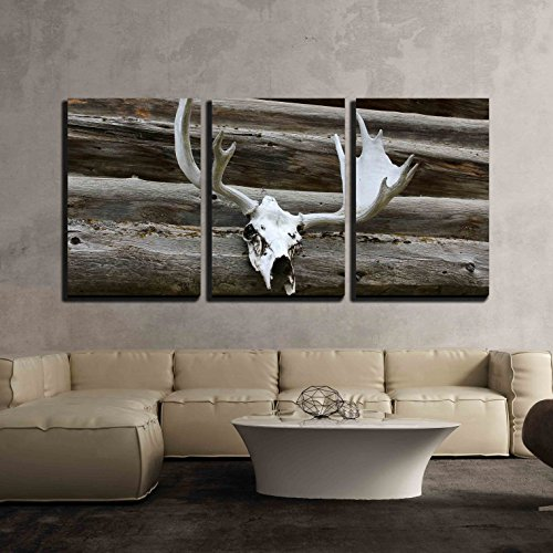 wall26 - 3 Piece Canvas Wall Art - Elk Antlers Mounted Against a Log Cabin Outside Wall - Modern Home Decor Stretched and Framed Ready to Hang - 16