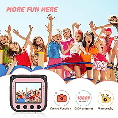 VanTop Junior K3 Kids Camera, 1080P Supported Waterproof Video Camera w/ 16Gb Memory Card, Extra Kid-Proof Silicon Case (Pink): Camera & Photo