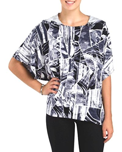 (Cable & Gauge - Women's B&W Abstract Geometric Hoodie Poncho Knit Top (Large/X-Large))