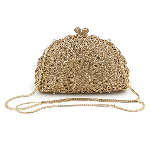 Luxury Flada Clutch Party Bags Peacock Purse for Dark Evening Womens Shape Gold Hollow Rhinestones fxwxq65gF