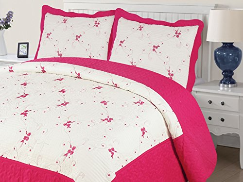 Empire Home Xenia 3PC Quilted / Embroidered Oversized Bedspread (Hot Pink, California King)