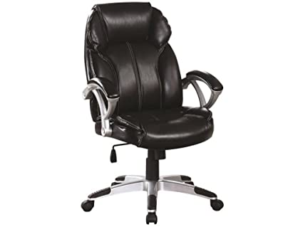amazon com coaster transitional black faux leather office chair