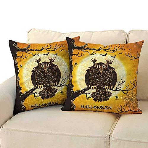(RuppertTextile Halloween Living Room Sofa Hug Pillowcase Owl on Tree Spider Web Mildew Proof W14 x)