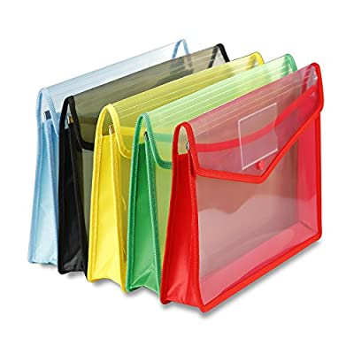 Plastic Wallet, A4 Plastic File Wallet Document Folder Premium Poly Pockets Envelope with Business Card Holder (Pack of 5)