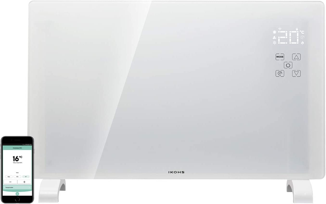 IKOHS EVERWARM GPH1500 WiFi - Convector Eléctrico de Cristal (Blanco)