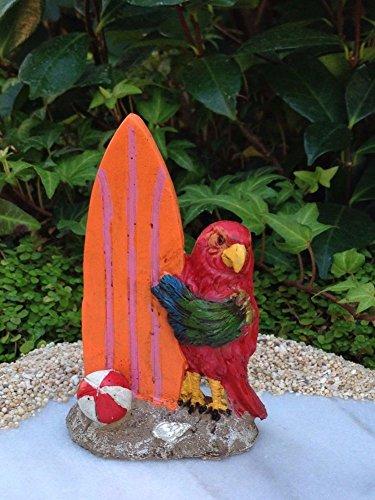 Miniature Dollhouse FAIRY GARDEN Sea BEACH Island Parrot with - Surfboards Nectar