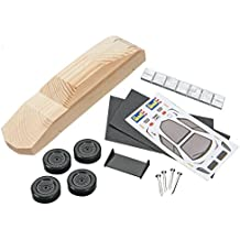 Revell Pinewood Derby Racer Series Sports Car, Officially Licensed Boy Scouts of America (BSA) Pre-Cut Shaped Wood Block Kit with Official Wheels and Axles, Decals, and Weight