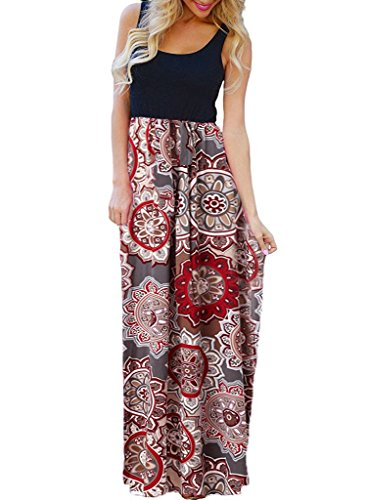 - OURS Women's Summer Ethnic Style Floral Print Bohemian Sleeveless Tank Dresses Maxi Tank Dresses (Y-Pattern1, S)