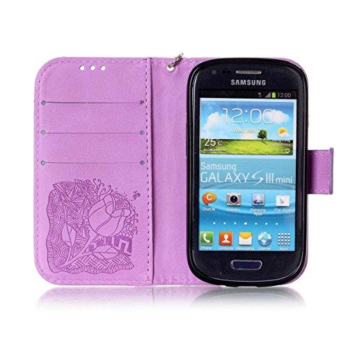 Funda Galaxy SIII Mini, Carcasa Plegable para Galaxy S3 Mini, Funda de piel Galaxy S3 Mini, Lifetrut Sólido Shiny Sparkle libro de estilo funda de cuero con ranura para tarjetas de cierre magnético so E212-Flor de rosa en púrpura