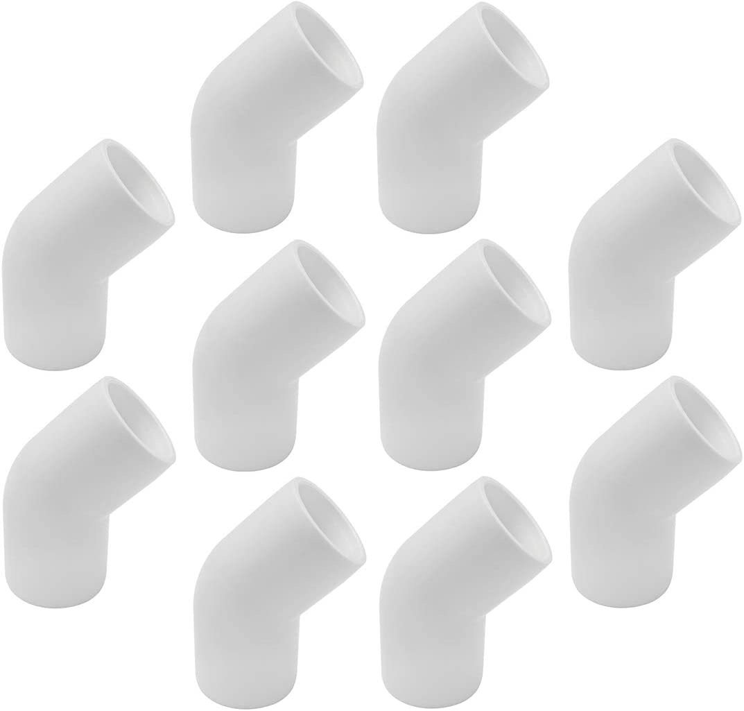 """SDTC Tech 10-Pack 3/4"""" 45 Degree Elbow PVC Fitting Furniture Grade Pipe Connector for DIY PVC Shelf Garden Support Structure Storage Frame"""