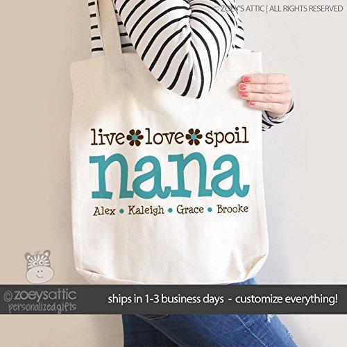nana tote bag | live love spoil | mother's day tote bag | grandma tote bag
